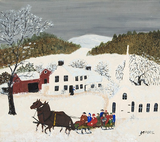 "Anna Mary ""Grandma"" Moses, Going Home From Church, oil on pressed wood, 1948. Museum Purchase Using Funds from the Robert and Lois Bergland Acquisition Fund."
