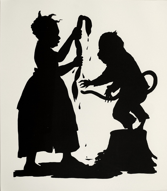 I'll Be A Monkey's Uncle, Kara Walker. Lithograph on paper, 1996. John and Mary Pappajohn Endowment Fund Purchase. 2003.1