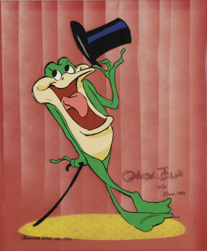 Michigan J. Frog, Chuck Jones. Animation cel (original hand painted with hand-made background), 1980. Gift of the Clark Family in honor of Beje Clark. 2006.1