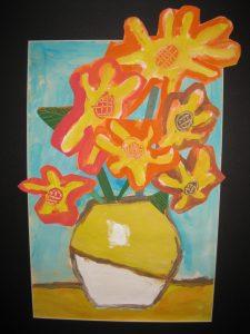 Image from the previous elementary school art exhibition in 2014 - Haden Weber, Van Gogh Inspired Arrangement, Roosevelt - 1st Grade